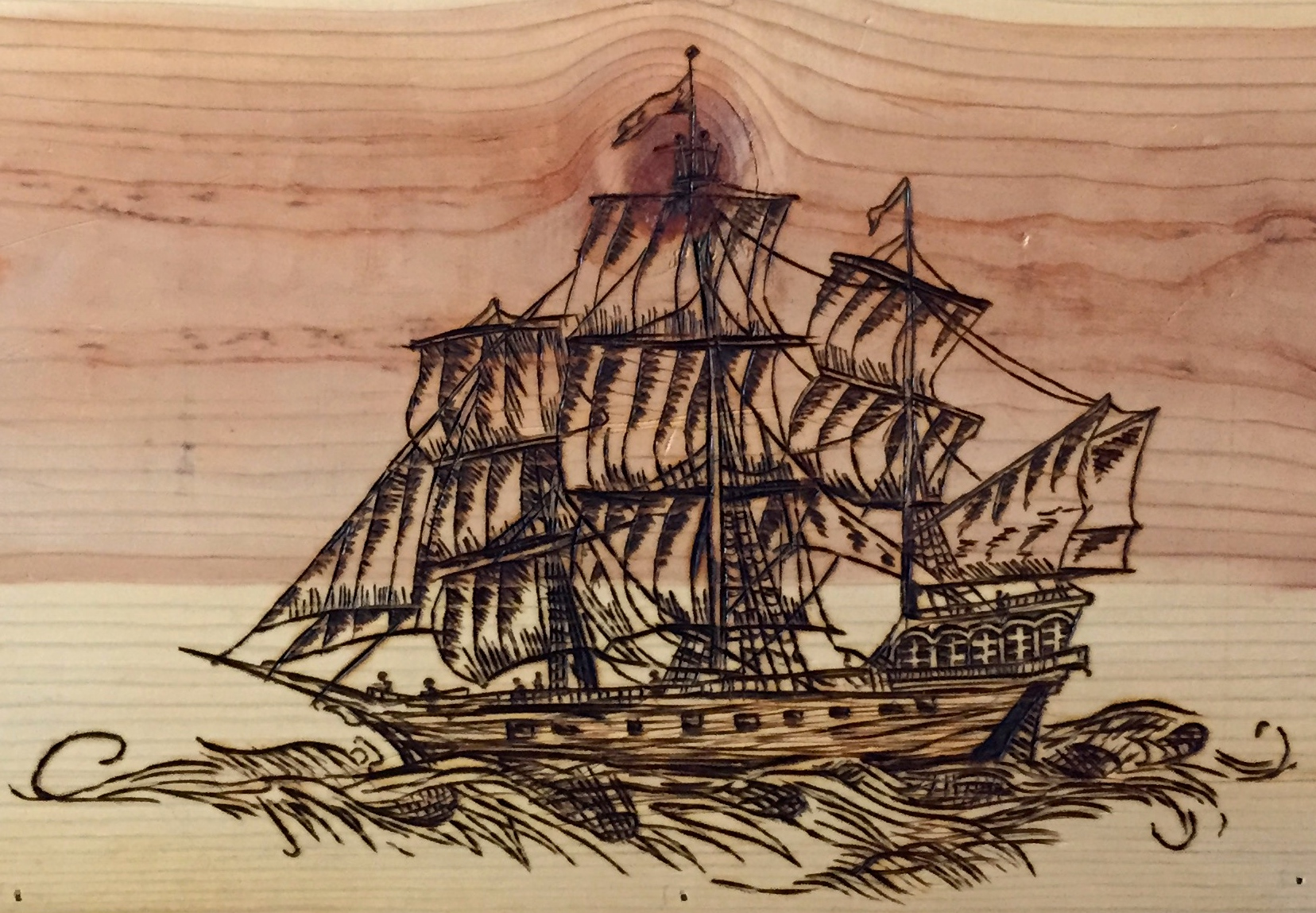 arrr pirate treasure box wood burning secret dad society